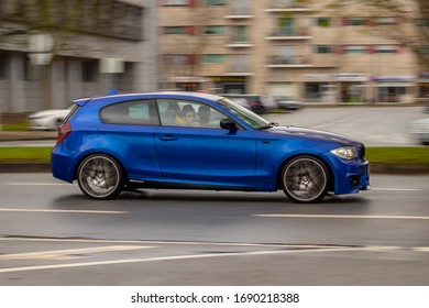 Viseu , Portugal - March 04 , 2020 : Bmw 320 blue car in a panning photography
