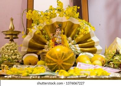 Vishu kani decoration Kerala New Year celebration