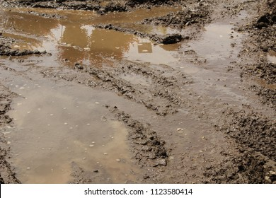 Visible tire tracks in the mud. Daytime.