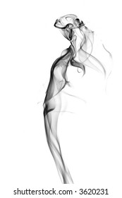 Vision of a beautiful woman. Image is a careful combination of photographs of smoke. Isolated on a white background.