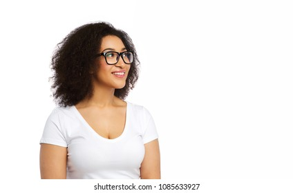 vision, body positive and people concept - happy african american woman in white t-shirt and glasses