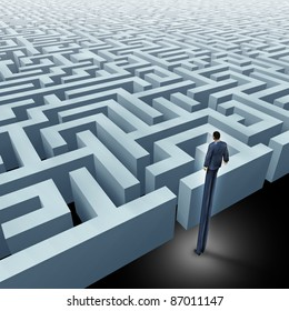 Vision in business innovative solutions solving challenges with a business man with very long legs looking above a maze and a labyrinth using strategy and planning so you do not get lost.
