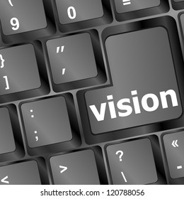 vision button showing concept of idea, creativity and success, raster