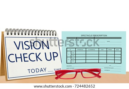 cf22d4020a60 Vision Check up Today Calendar red eye glasses blank vision prescription