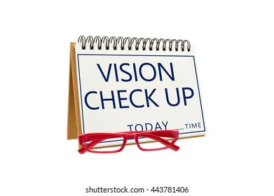 Vision Check Up Today Time Slot Red Eyeglasses isolated on white background