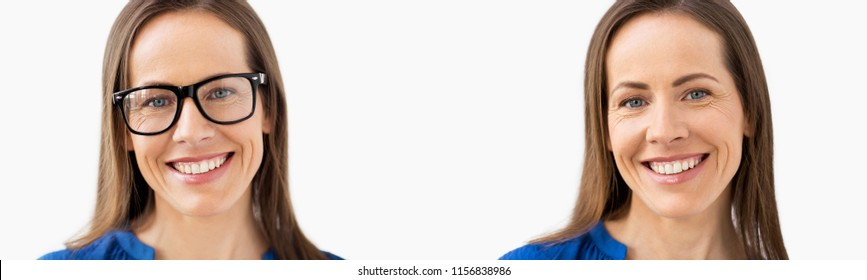 vision correction concept - two pictures of same woman with and without glasses, before and after laser eye surgery