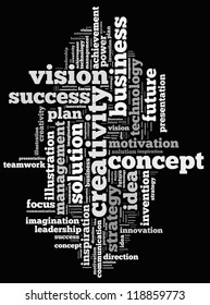 Vision info-text graphics and arrangement concept on white background (word cloud)