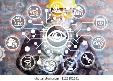 Vision Surveillance Supervision Observation Industry concept. Industrial worker used virtual interface with circuit board and digital eye icon. Cyber security big brother smart manufacture.