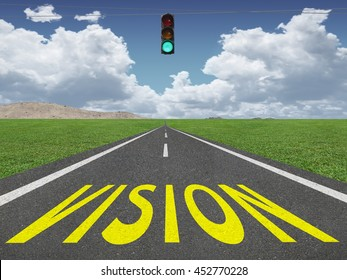Vision text on highway inspirational background