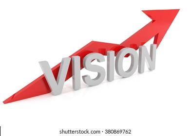 Vision with upward red arrow, 3d illustration