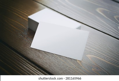 Visit cards with wood