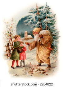 A Visit from Saint Nicholas - an early 1900's vintage greeting card illustration (compare to image No. 34040)