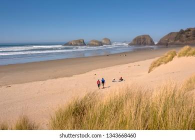 Visiting the beach in Canon Beach Oregon coast.
