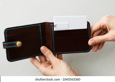 Visiting calling cards mockup sleeve cardholder pocket. Clear paper cards branding in grey wallet box. Logo design card