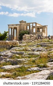 Visiting the Parthenon temple on summer day, Acropolis in Athens