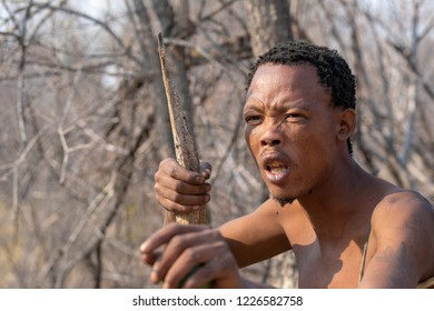 Visiting the San-people, Bushmen. Grootfontein, Namibia - September 22 2018. Sān or Saan people are members of various Khoesān-speaking indigenous hunter-gatherer groups representing the first nation.