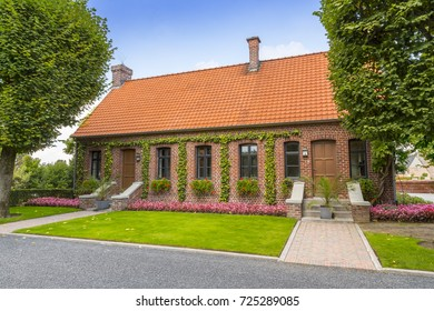 The Visitor Building at the American World War One Cemetery at Flanders Fields, Waregem, Belgium. Nearly 370 American war dead are buried here.