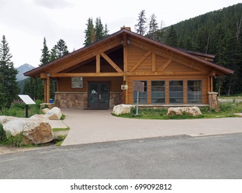 The visitor center at Berthoud Pass at the Continental Divide in the mountains in Colorado.