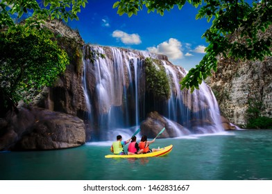 Visitors can boast the Erawan waterfall that is swaying on a day with bright, natural beauty.