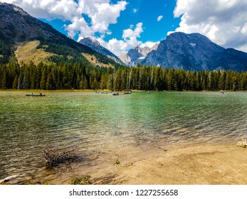 A visitors' favorite is boating on Leigh Lake in Grand Teton National Park in Wyoming. The scenery is absolutely spectacular with the Teton peaks in the background.