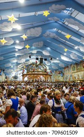 Visitors in the Hacker-Pschorr Beer tent at the Oktoberfest in Munich, Bavaria, Germany, Europe, 25. September 2013