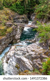 Visitors to Little Qualicum Falls Provincial Park on Vancouver Island, BC, Canada, are treated to beautiful old-growth forests and spectacular waterfalls.