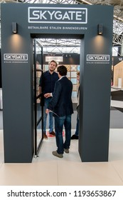Visitors With Salesman At The VT Wonen & Design Beurs Exhibition At The Rai Complex Amsterdam The Netherlands 2018. The Exhibition starts at 2-10-2018 and ends at 7-10-2018