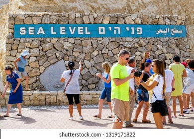 "Visitors at the ""Sea Level Point"" near Jericho, Israel. The Dead Sea is the lowest place on earth. 13-09-2015"