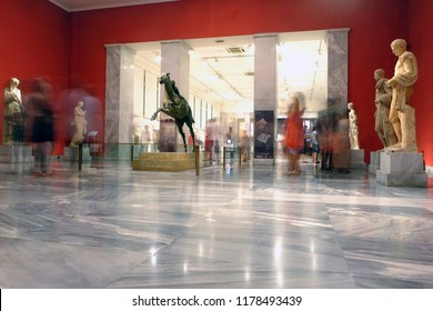 Visitors take a guided tour at the National Archaeological Museum during  the 'Night of Museums' in Athens Greece on Aug. 26, 2018