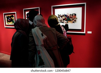 Visitors tour the Miro exhibition showcasing artworks by Spanish painter and sculptor Joan Miro in Istanbul, Turkey on Nov. 24, 2013