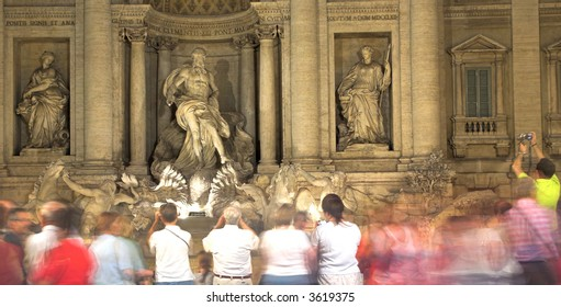 Visitors At The Trevi Fountain, Rome, Italy