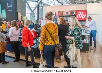Visitors At The VT Wonen & Design Beurs Exhibition At The Rai Complex Amsterdam The Netherlands 2018. The Exhibition starts at 2-10-2018 and ends at 7-10-2018