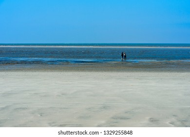 Visitors in the wadden sea at low tide, Schleswig-Holstein Wadden Sea National Park, Westerhever, Schleswig-Holstein, Germany