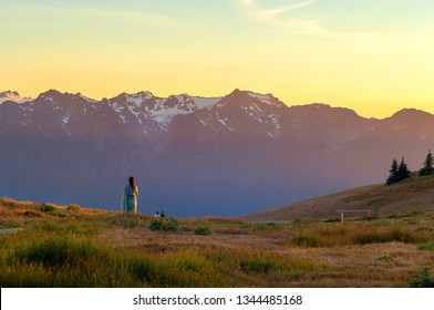 Visitors watching sunset over snow capped mountains of Hurricane ridge in Olympic national park, Washington, USA