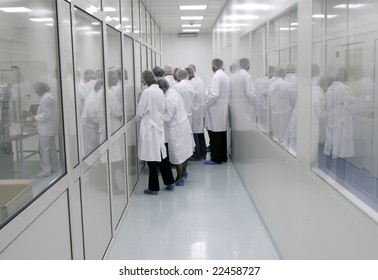 visitors in white coats in interior of a pharmaceutical industry