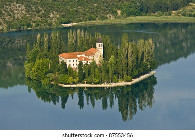 Visovac monastery, and Visovac island part of the National park Krka, built in the 14th century.  Monastery library includes particularly rare incunabula of Aesop`s fables from the 15th century.