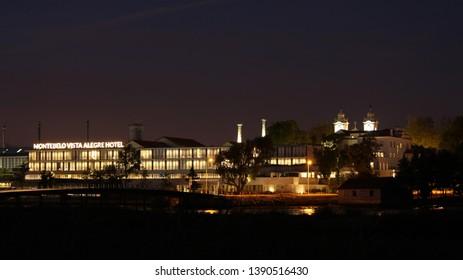 Vista Alegre, Portugal - July 2018: Montebelo Vista Alegre Hotel, a 5 stars hotel in Ilhavo, well illuminated at night.