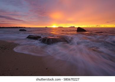 Vista Beach, Kota Kinabalu, Sabah, Malaysia, 22 November 2013: Beautiful sunset at Vista beach.