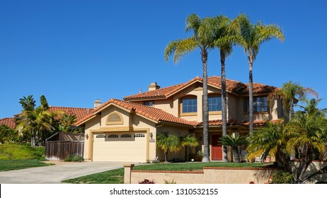 Vista, CA / USA - February 11, 2019: Typical upper middle class home in Southern California suburb