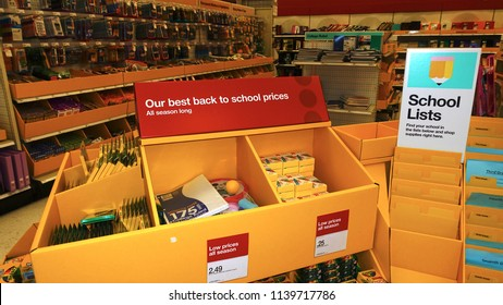 Vista, CA / USA - July 21, 2018: Back to school display of supplies at store