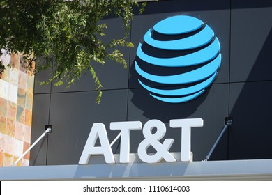 Vista, CA / USA - June 11, 2018: Close up of the signage of AT&T store