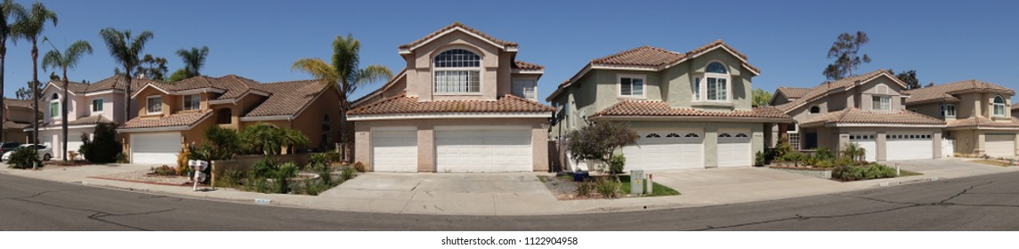 Vista, CA / USA - June 28, 2018: Panorama shot of a typical suburban neighborhood in Southern California