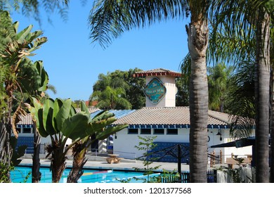Vista, CA / USA - October 12, 2018: The Vista Wave Water Park seen framed by tropical foliage
