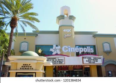 Vista, CA / USA - October 12, 2018: The Cinepolis movie theater in downtown Vista