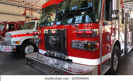 Vista, CA / USA - October 12, 2019: Fire trucks are polished to a shine and displayed for the public during fire station open house.