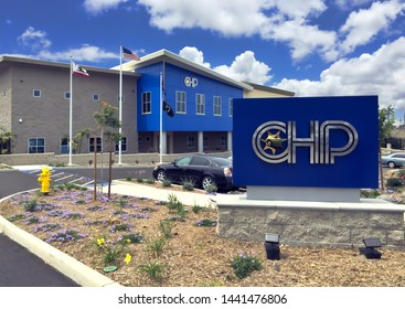 Vista, Calif./United States 5/13/15  Exterior photo of building and sign for the new Oceanside Area office of the California Highway Patrol.  The building colors reflects CHP's blue and beige uniforms