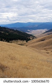 Vista of farmland in Western Montana, near the National Bison Range