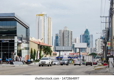 Vista Hermosa, Panama City, Panama - August 3, 2019: Panama City from Via Fernandez de Cordoba on sunday afternoon