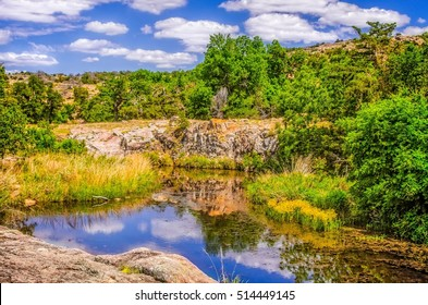 Vista reflections on pond at Charons Garden Wilderness in Wichita Mountains Wildlife Refuge Lawton OK