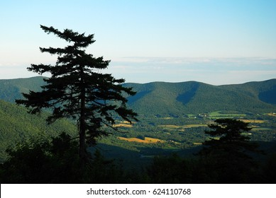 A vista at the summit of Mt Greylock offers a view of the Berkshire Mountains